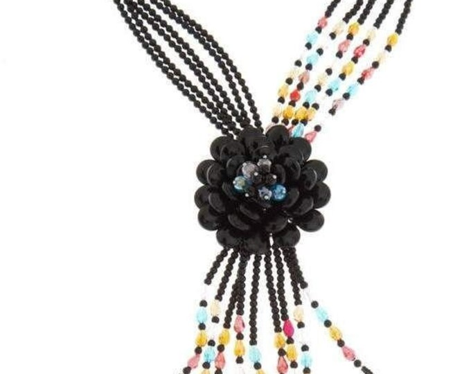 Joan Rivers Necklace - Long Black Beaded Necklace with Flower Design - S1184
