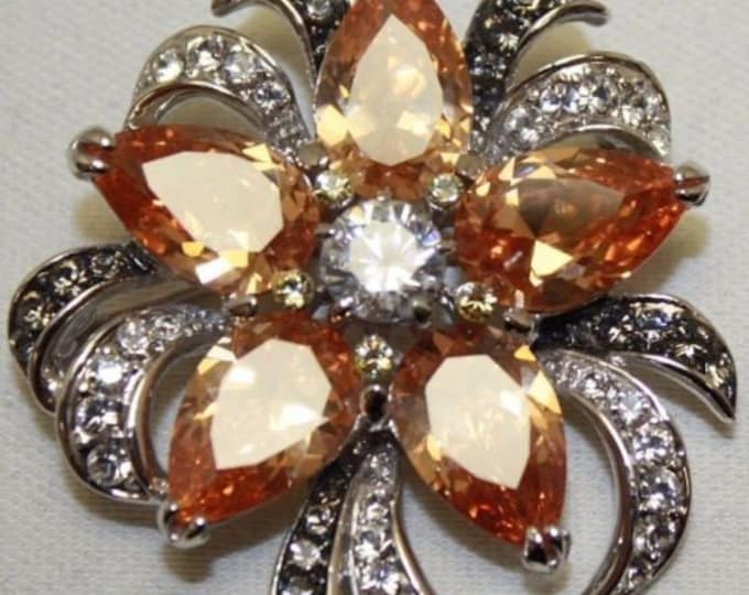 Jackie Kennedy Silver Necklace - Topaz Orchid Pin Pendant with Stones - 43