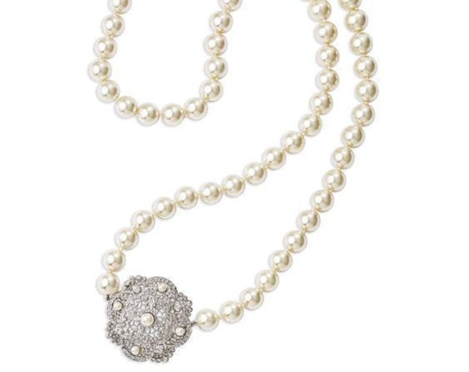 Jackie Kennedy Pearl Necklace with Filigree Clasp and Certificate - tms1
