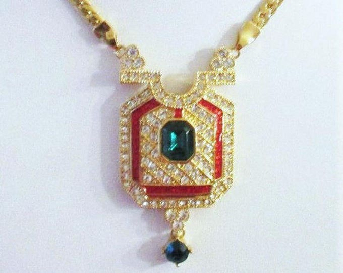 Jackie Kennedy Foxtrot Necklace - Gold Plated, Enamel and Stones - #230