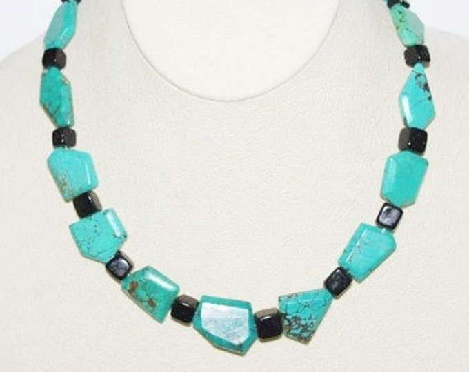 925 Turquoise and Onyx Natural Gemstone Necklace - S2379