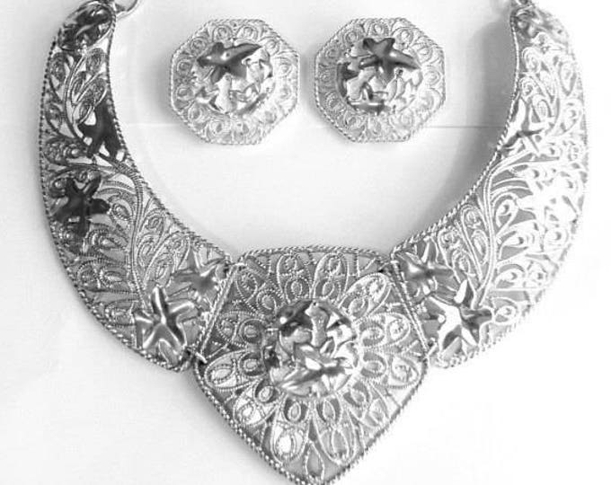 Jose Barrera Silver Falling Leaves Necklace Set - S1858