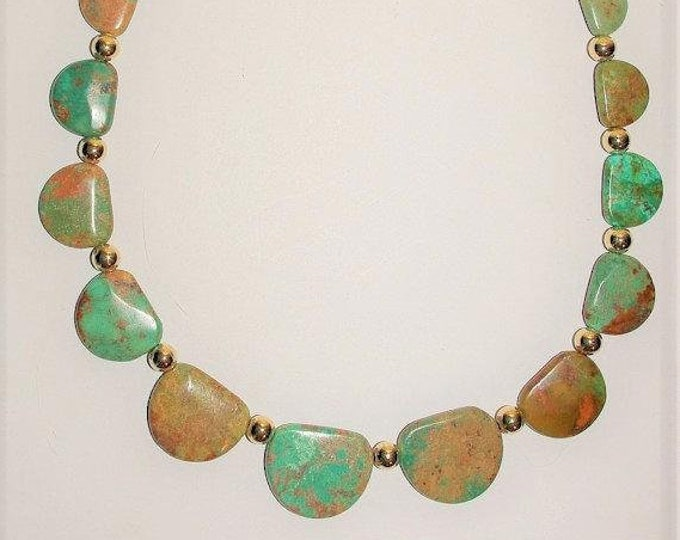 Green Turquoise Natural Gemstone Necklace - S2382