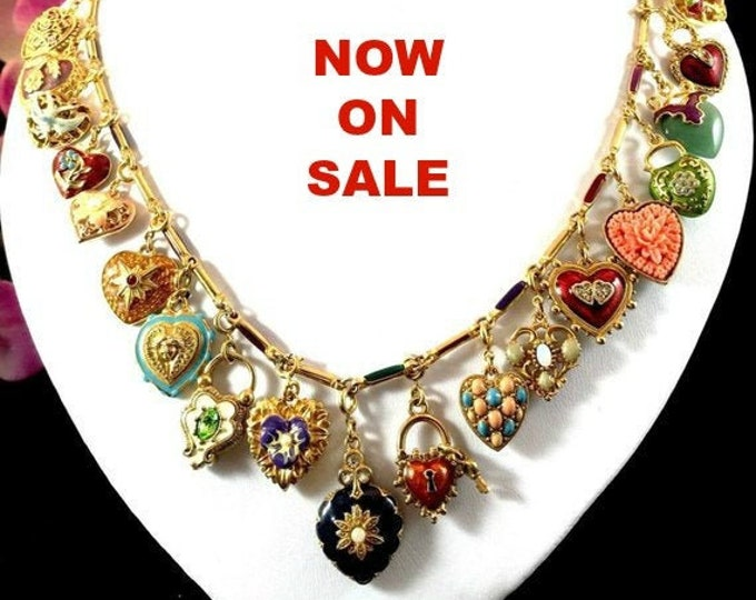 Complete Collection - Joan Rivers Hearts & Flowers Charm Necklace with All 19 Charms - S1038