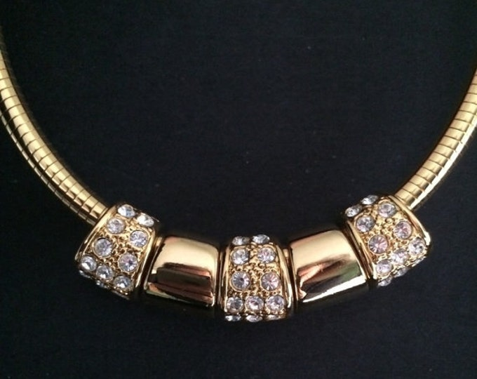 Joan Rivers Necklace - Omega with 5 Reversible Slides - Enamel, Plain and Crystal  -    S1511