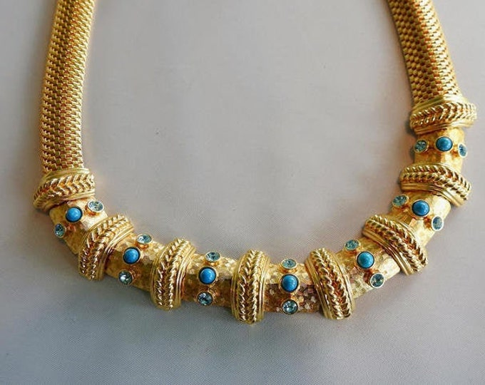 Rare Jackie Kennedy Necklace - Gold Plated with Blue Stones - 340