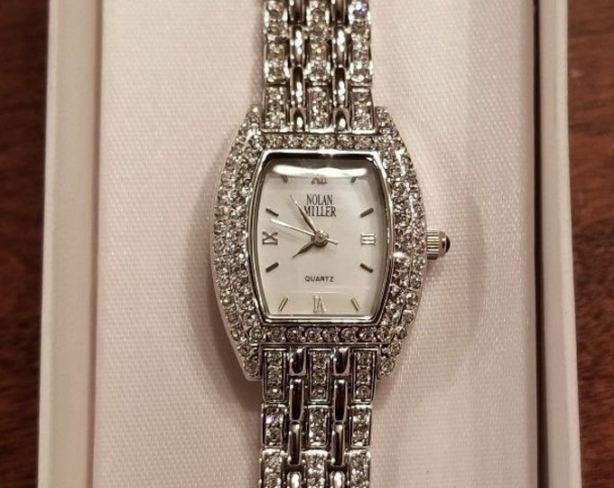 Nolan Miller Crystal Watch in Silver Tone Size 7 or 7.5 - S2451