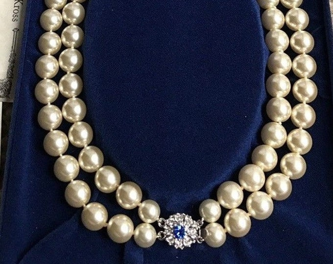 Jackie Kennedy Pearl Necklace - 2 Strands with Jeweled Clasp and Certificate - TMS1