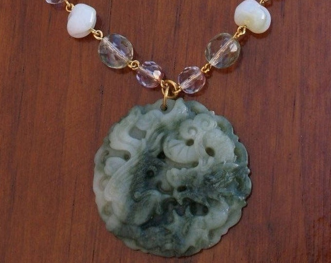 Joan Rivers Necklace with Hand Carved Jade Pendant - S2291