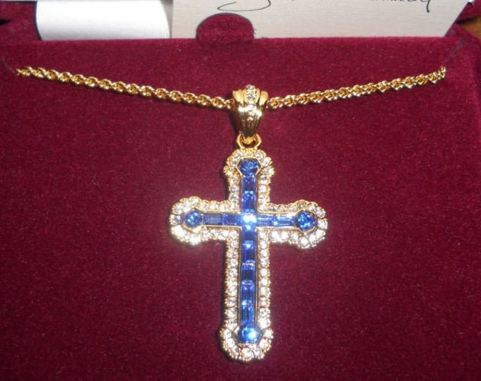 Jackie Kennedy Cross Necklace - Gold with Blue and Clear Stones with Certificate