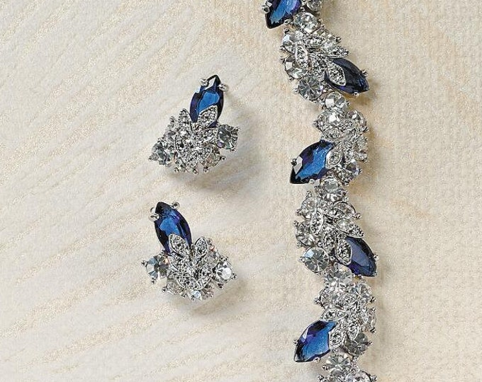 Jackie Kennedy  Jewelry SET - Blue and Crystal Snowflake Bracelet & Earrings with Certificate
