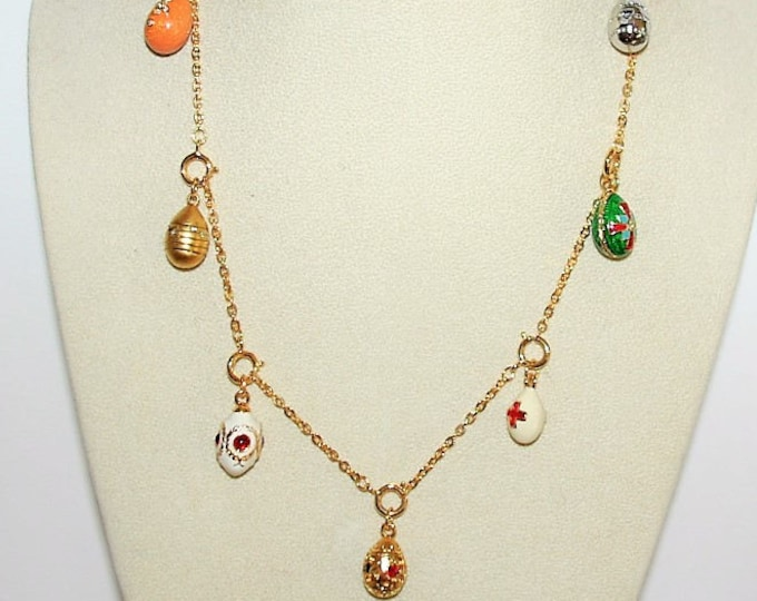 Joan Rivers  Charm Necklace - Egg Charms