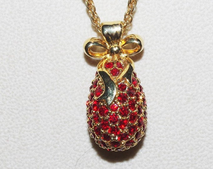 Joan Rivers Red Crystal Egg Necklace - S1224