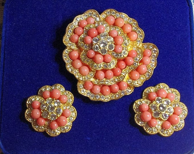 Jackie Kennedy Jewelry SET - Coral Brooch and Earrings with Certificate