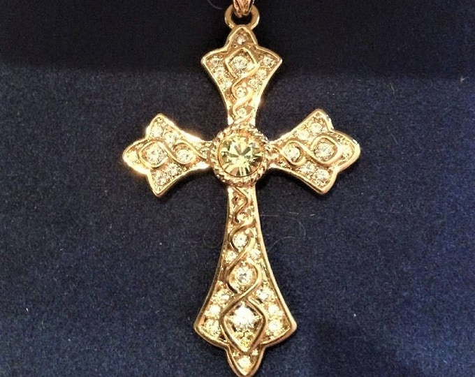 Jackie Kennedy Savoy Cross Necklace - Gold Plated Necklace with Stones