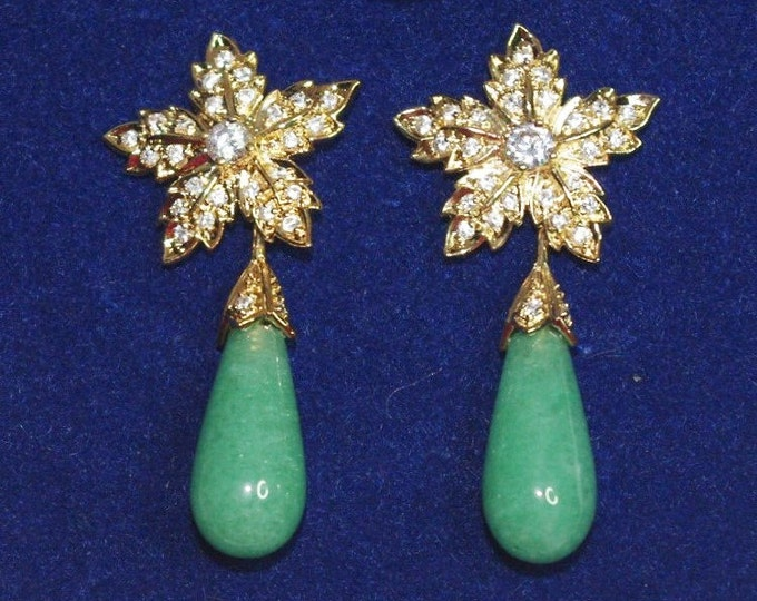 Jackie Kennedy Aventurine Pierced Convertible Earrings with Certificate - 8