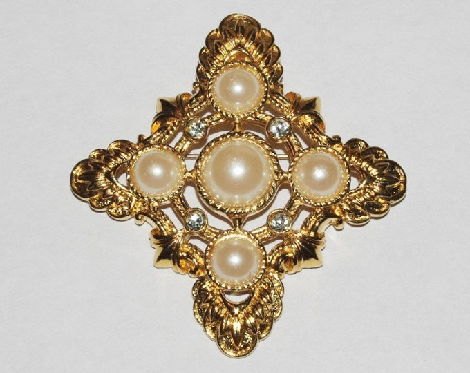 Kenneth Lane Pin Pendant Enhancer - Gold with Pearls - S1365