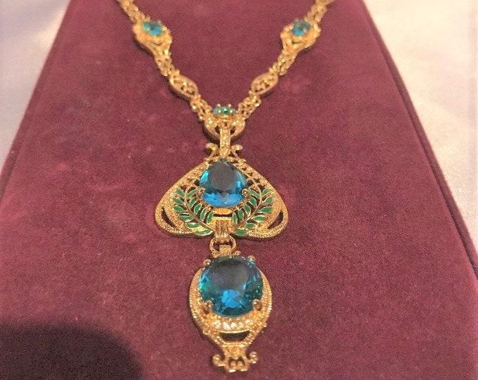Jackie Kennedy Aqua Art Nouveau Drop Necklace