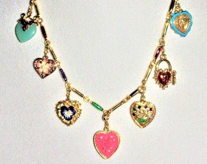 Joan Rivers Hearts & Flowers Charm Necklace with 7 Charms