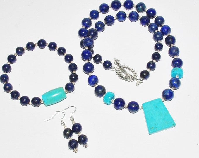 925 Gemstone Necklace Set - Lapis and Turquoise -One of a Kind - S2348