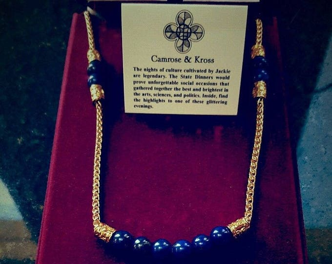 Jackie Kennedy Lapis Necklace - Gold Plated with Simulated Beads, Box and Certificate