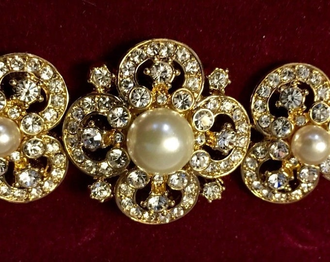 RARE Jackie Kennedy Notre Dame Bracelet - Gold with Pearls, Size 7 or 8 -  No. 243 tms1