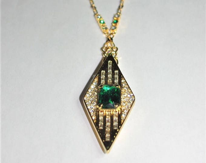 RESERVED - JBK Emerald Pin Pendant Necklace with Certificate - 3/13/19