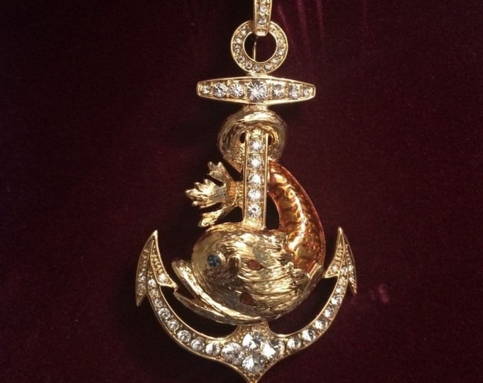 RARE Jackie Kennedy Dolphin Necklace   Pin Pendant   Gold Plated with Stones   No. 282