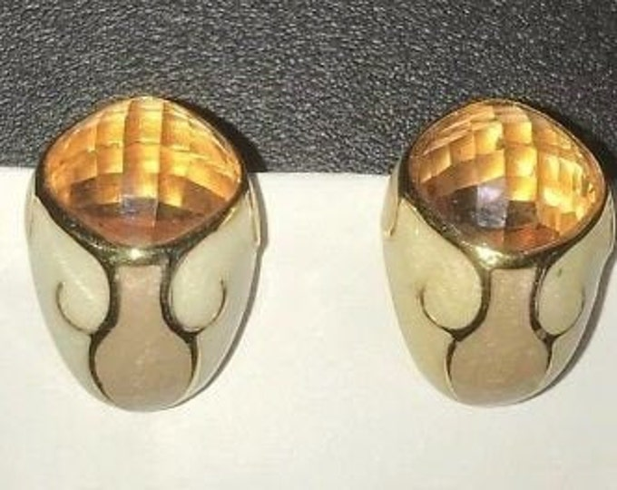 Joan Rivers Clip On Earrings - Cream and Topaz - S3200