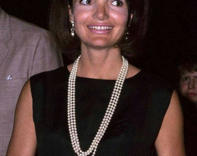 Jackie Kennedy Long Pearl Necklace, 3 Strands with Coco Chanel Clasp - tms3
