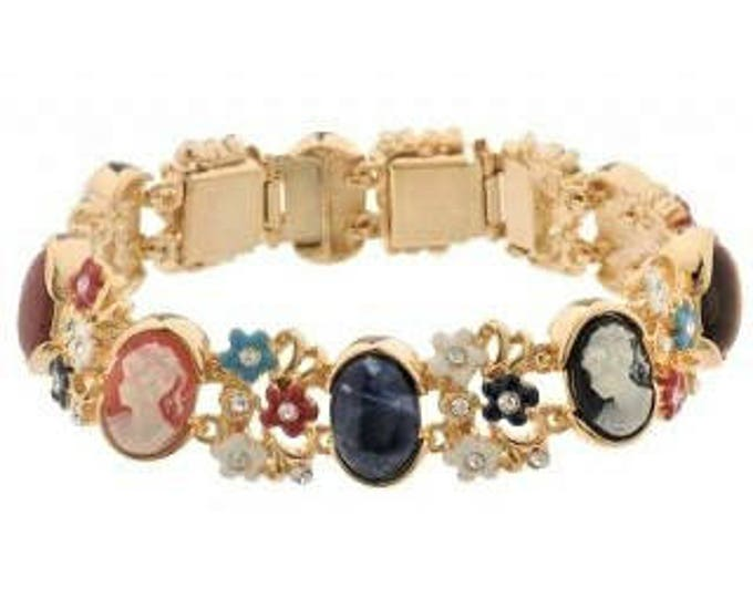 Jackie Kennedy Cameo Bracelet with Stones Sizes 6.75 or 7.75 - No. 158