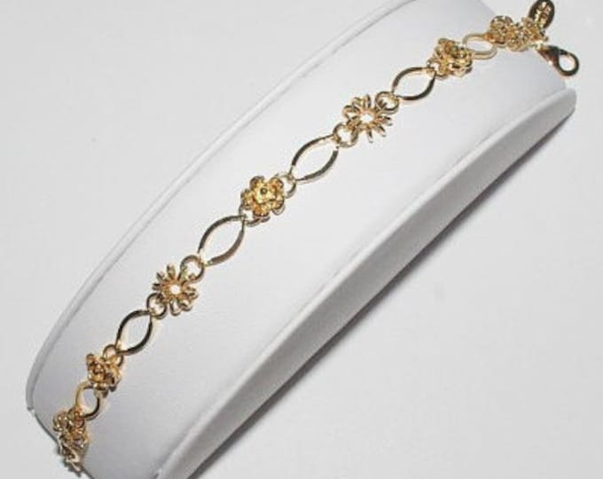 Nolan Miller Bracelet - Gold Flowers with Crystals - S1294