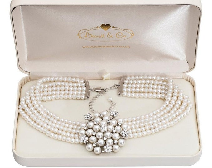 3-Piece Pearl Set with Crystals - Necklace, Bracelet, Earrings - Special Purchase
