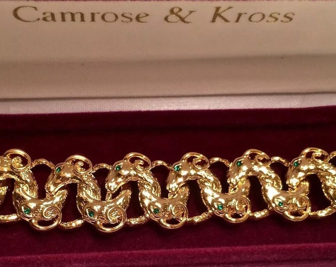 Jackie Kennedy Ram Heads Bracelet - Gold with Stones - 320 tms1