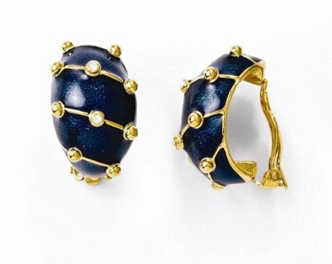 Jackie Kennedy Earrings - Navy Blue Clip On Earrings - 271