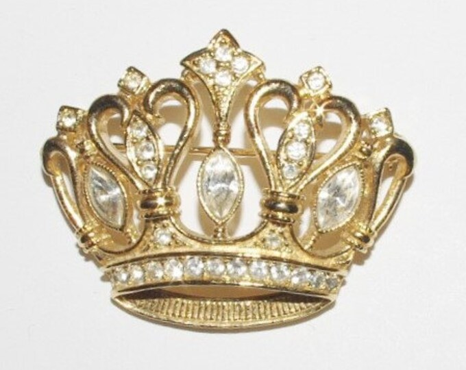 Kenneth Lane Brooch - Crown Pin with Crystals - S1383