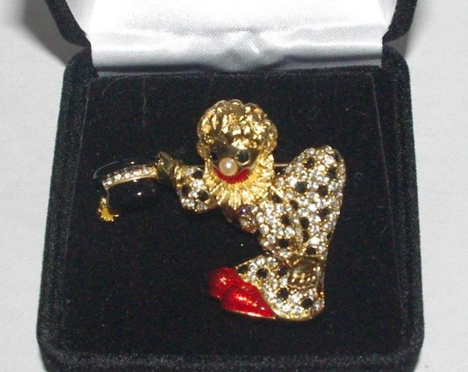 Joan Rivers CLOWN PIN - Lots of Crystals and Accents in Enamel - S3144