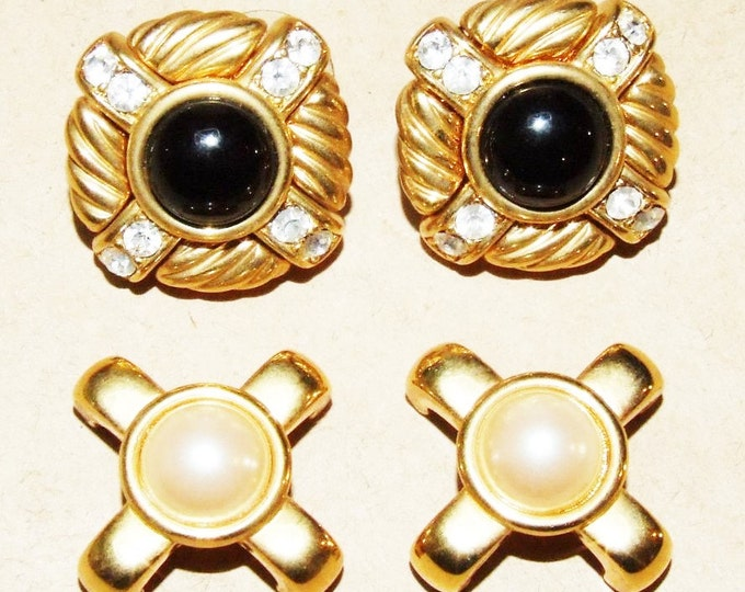 Joan Rivers Black and White Clip On Earrings Changeable - S2009