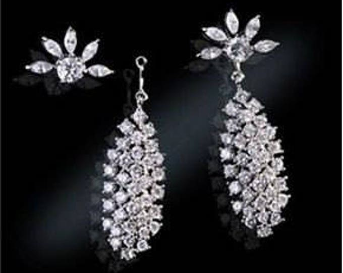 Jackie Kennedy Waterfall Earrings, Convertible Crystal Dangles in Silver - S025