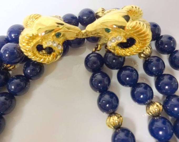 Kenneth Lane Blue Rams Head Necklace Set -  S2195a
