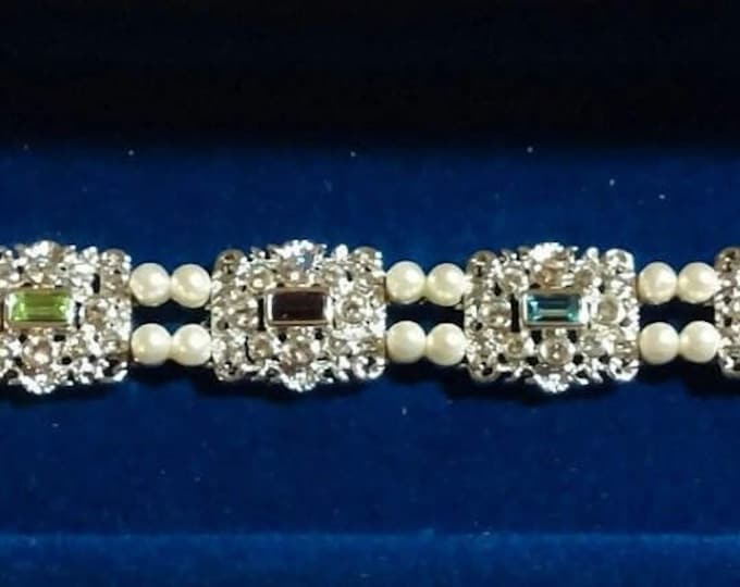 Jackie Kennedy Queen Jane Seymour Bracelet - Silver with Stones and Faux Pearls - 317 tms1