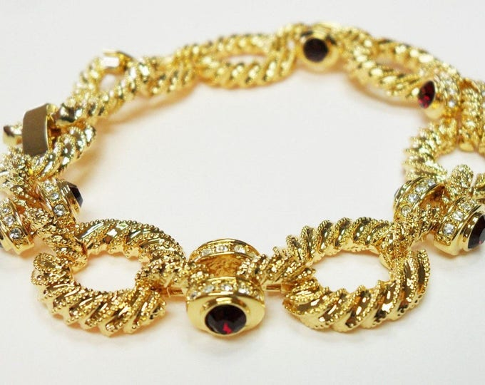 Jackie Kennedy Gold Bracelet with Side Stones - 24K Gold Plated - Sizes 7 and 8