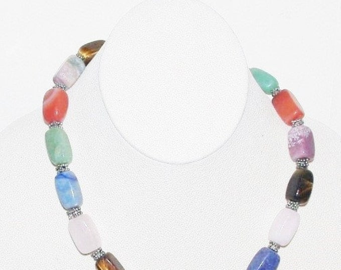 Natural Multi Gemstone Beaded Necklace - S2353