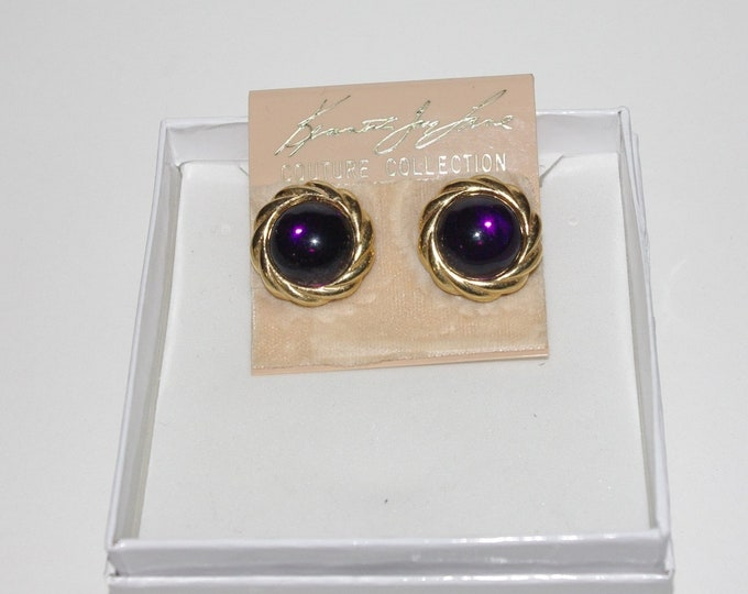 Kenneth Lane Earrings - Gold Tone with Purple Stones - Clip On - S2480