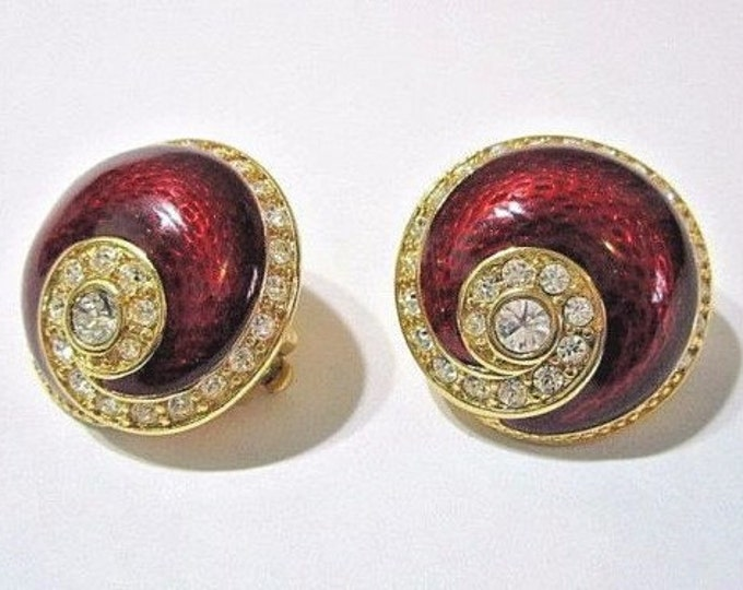 Jackie Kennedy Round Red Clip On Earrings with Certificate - 4