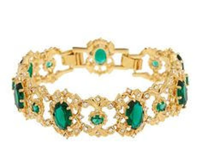 Jackie Kennedy Bracelet -  Emerald and Crystal - Size 6.5 to 7.5 Box and Certificate  - S144