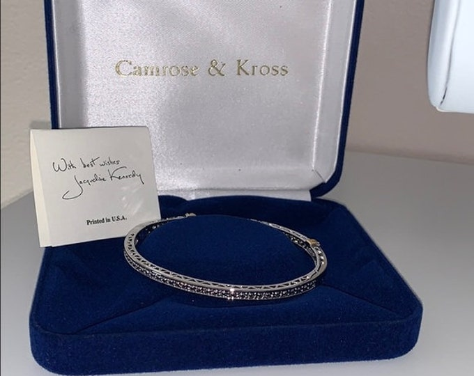 Jackie Kennedy Crystal Bangle - Narrow Silver Bracelet - 313 tms1