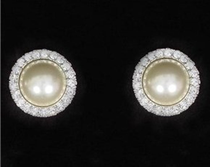 Jackie Kennedy Pearl Earrings with Simulated Diamonds - No. 304