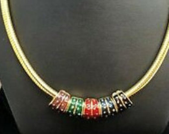 Joan Rivers Necklace with 5 Reversible Slides - Enamel or Gold with Crystals  - S1511