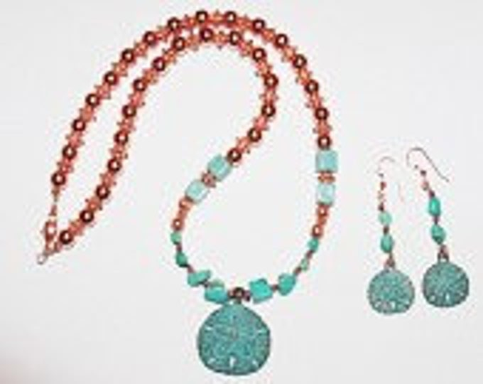 Turquoise and Copper Sand Dollar Necklace Set - S2364